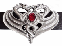 Opposing Dragons Pewter Belt Buckle with a Siam-coloured Stone BB504